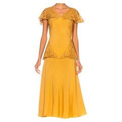 1930S Golden Yellow Bias Cut Rayon & Silk Faille Lace Peplum Dress