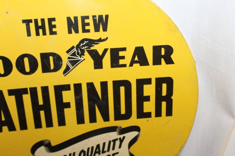 Mid-Century Modern 1930s Goodyear Tires Pathfinder Tin Tire Vintage Sign For Sale