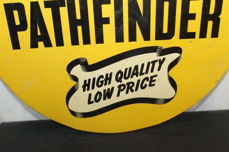 American 1930s Goodyear Tires Pathfinder Tin Tire Vintage Sign For Sale