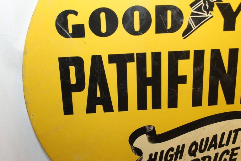 1930s Goodyear Tires Pathfinder Tin Tire Vintage Sign In Good Condition For Sale In Orange, CA