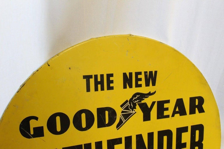 1930s Goodyear Tires Pathfinder Tin Tire Vintage Sign For Sale 1