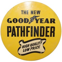 1930s Goodyear Tires Pathfinder Tin Tire Vintage Sign