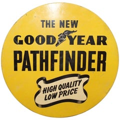 1930s Goodyear Tires Pathfinder Tin Tire Vintage Sign