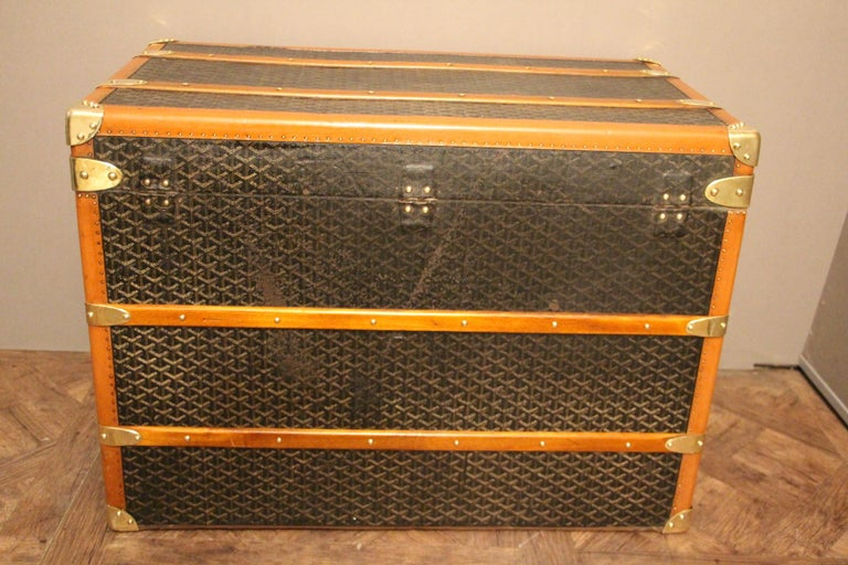 1930s Goyard Trunk, Goyard Steamer Trunk For Sale 3