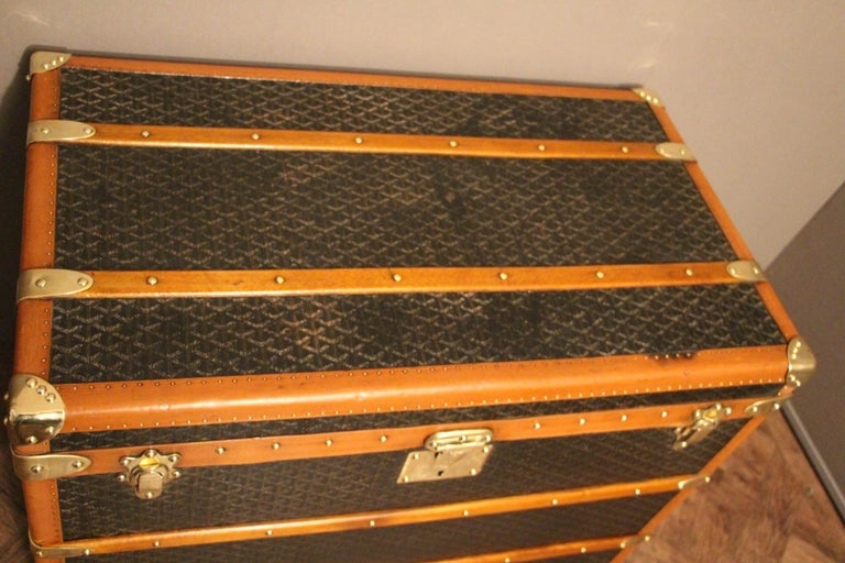 Art Deco 1930s Goyard Trunk, Goyard Steamer Trunk For Sale