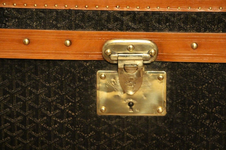 1930s Goyard Trunk, Goyard Steamer Trunk In Good Condition For Sale In Saint-Ouen, FR