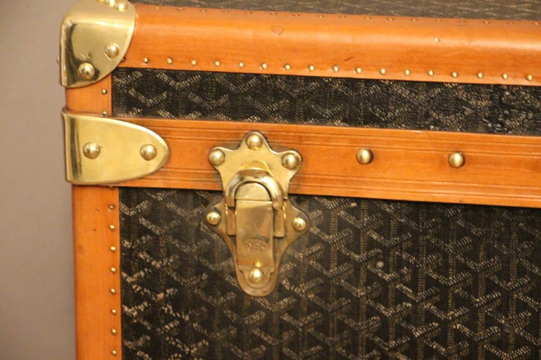 Early 20th Century 1930s Goyard Trunk, Goyard Steamer Trunk For Sale
