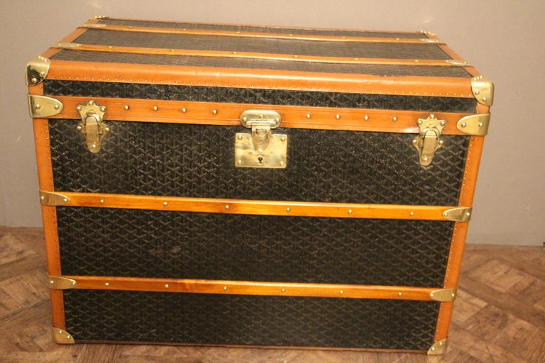Brass 1930s Goyard Trunk, Goyard Steamer Trunk For Sale