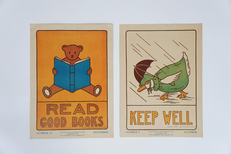 These two posters from the 1930s are just some in a Collection of 32. They were designed by Various Art Instructors in the Mid-West. ELISE REID BOYLSTON and EDITH DABNEY were just some of the Artists Wonderful graphic and naive images created for