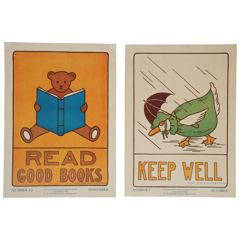 1930s Graphically Bold Character Culture and Citizenship Posters For Sale