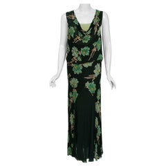 1930's Green Black Floral Print Lace Chiffon Bias-Cut Gown & Bell-Sleeve Jacket