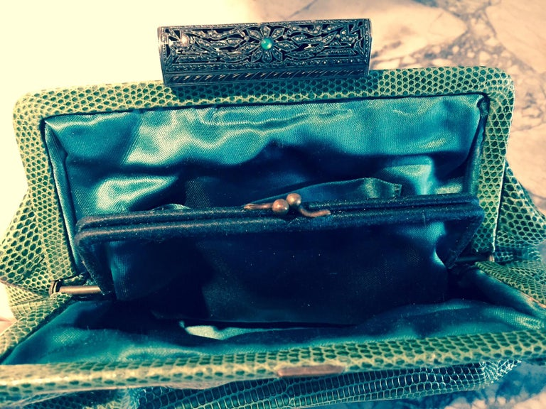 1930's Green Lizard Evening Bag Silver, Marcasite and Chrysoprase Clasp As New For Sale 1
