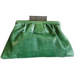 1930's Green Lizard Evening Bag Silver, Marcasite and Chrysoprase Clasp As New