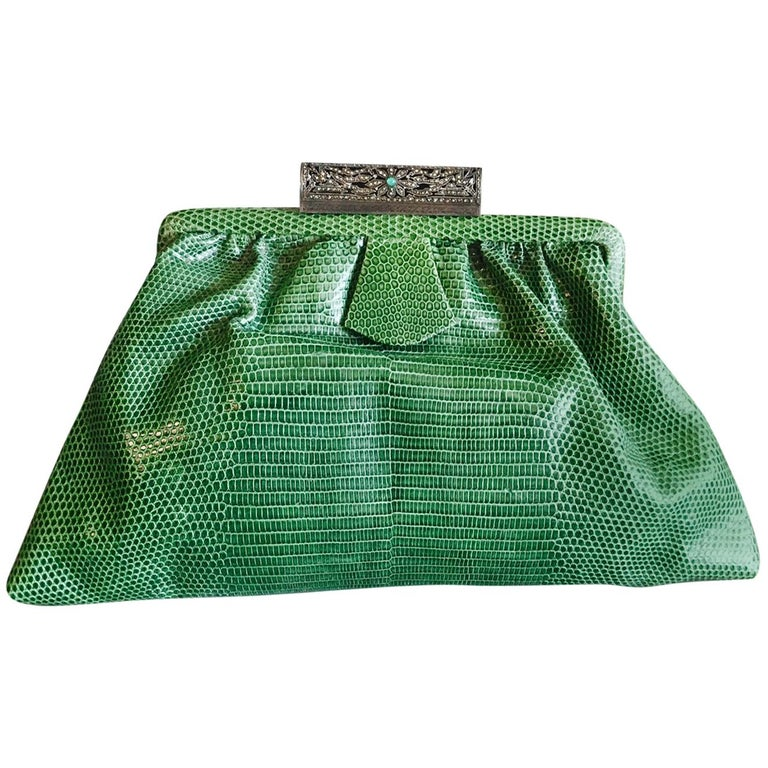 1930's Green Lizard Evening Bag Silver, Marcasite and Chrysoprase Clasp As New For Sale