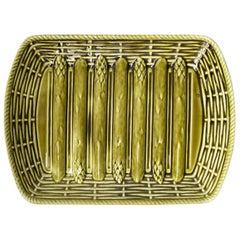 1930s Green Majolica DV Sarreguemines Asparagus Serving Basket Weave Platter
