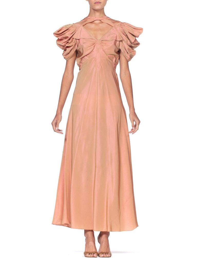 Orange 1930's Green + Pink Taffeta Bias Cut Puff Sleeve Gown