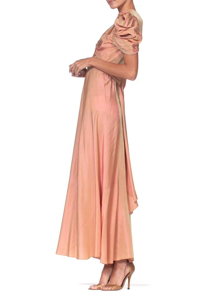 1930's Green + Pink Taffeta Bias Cut Puff Sleeve Gown  In Excellent Condition In New York, NY
