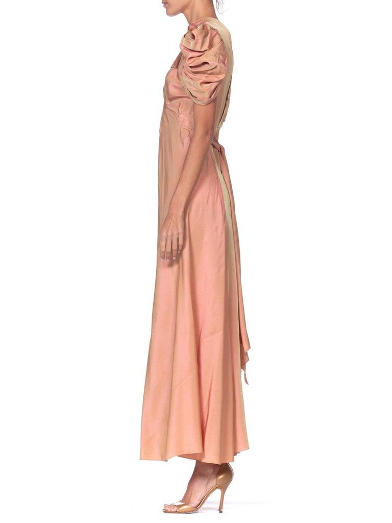 Women's 1930's Green + Pink Taffeta Bias Cut Puff Sleeve Gown