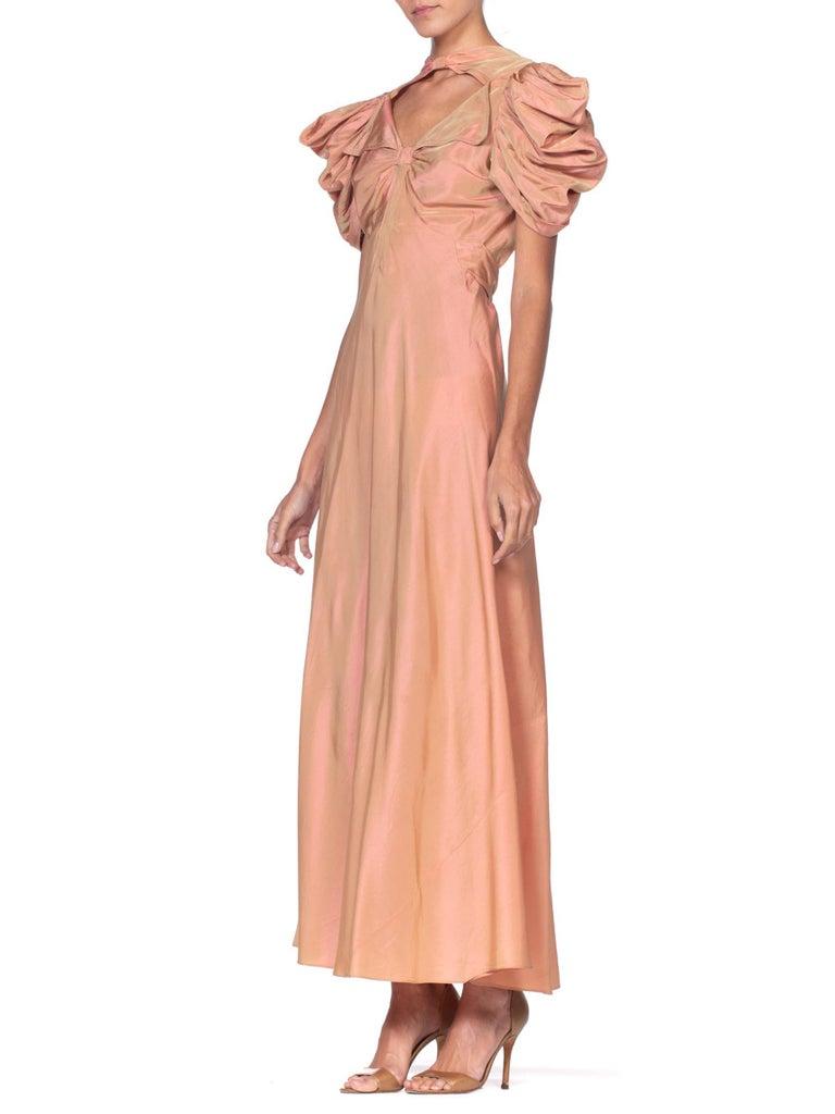1930's Green + Pink Taffeta Bias Cut Puff Sleeve Gown  1