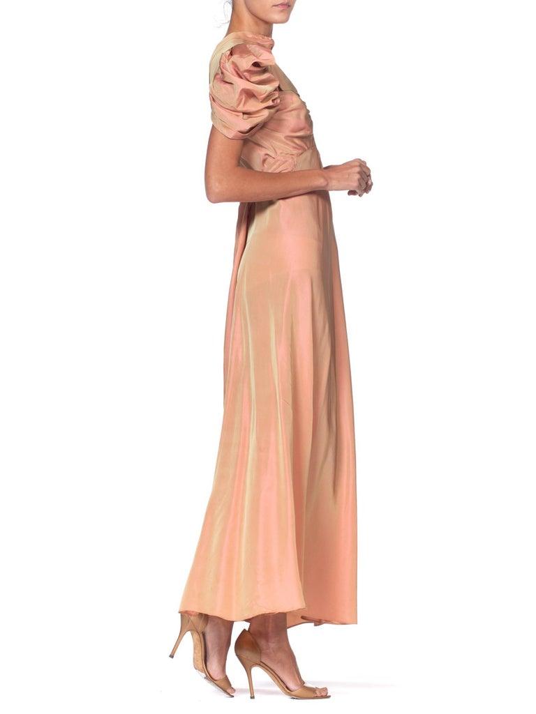 1930's Green + Pink Taffeta Bias Cut Puff Sleeve Gown  2