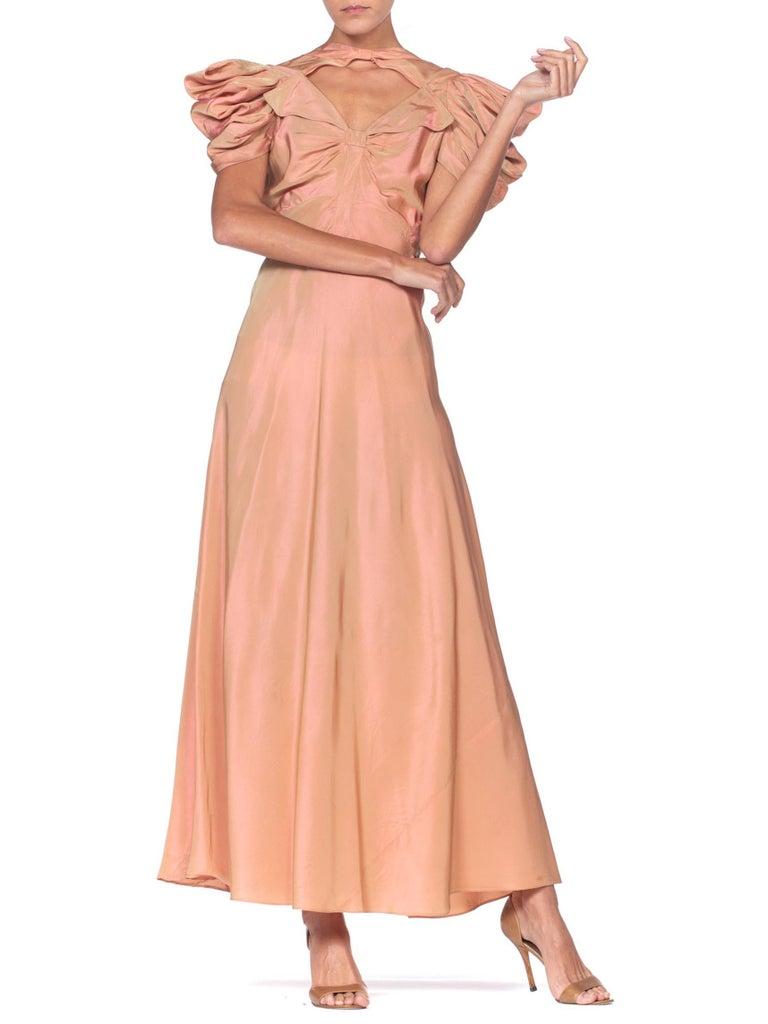 1930's Green + Pink Taffeta Bias Cut Puff Sleeve Gown  3