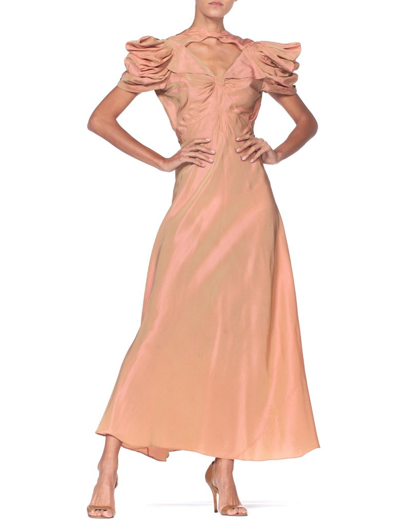 1930's Green + Pink Taffeta Bias Cut Puff Sleeve Gown  4