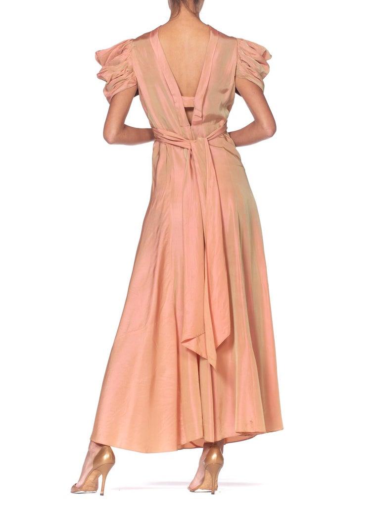 1930's Green + Pink Taffeta Bias Cut Puff Sleeve Gown  5