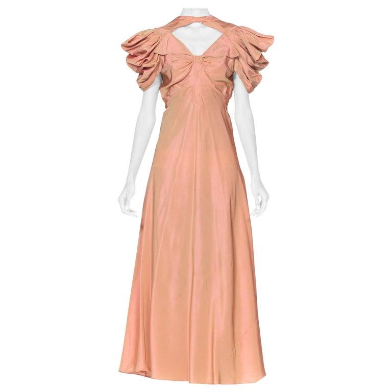 1930's Green + Pink Taffeta Bias Cut Puff Sleeve Gown