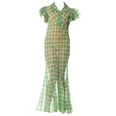 1930S Green Sheer Cotton Organdy Plaid Ruffled Dress