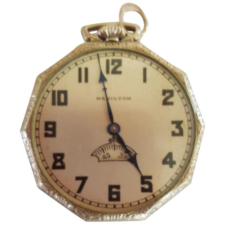 1930s Hamilton 14 Karat Gold Filled Pocket Watch, Grade 912, Rotating Second For Sale