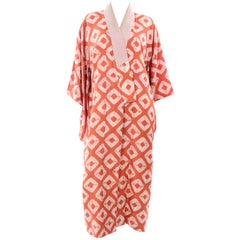 1930s Hand Dyed Kimono Japanese Shibori Silk Orange Minimalist Robe or Jacket