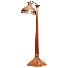 1930s, Hand-Hammered Red Copper and Tiffani Style Art Deco Floor Lamp, Sweden