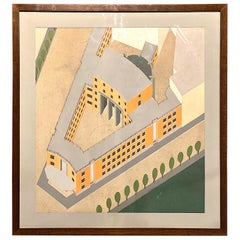 1930s Hand Painted Architectural Rendering of Fascist Palazzo Littorio
