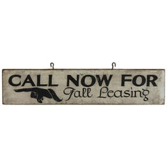 1930s Hand Painted Directional Wood Sign