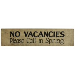 "1930s Hand-Painted Wood Sign "" No Vacancies """