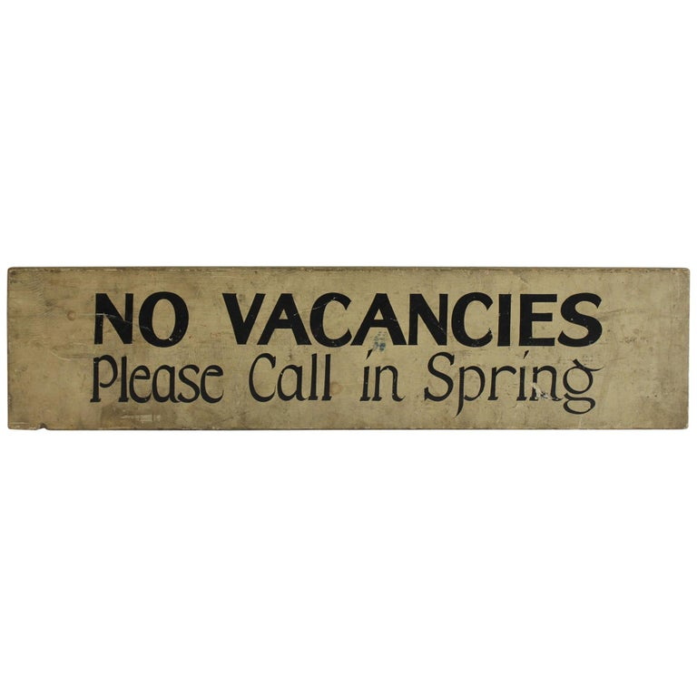 """1930s Hand-Painted Wood Sign """" No Vacancies """" For Sale"""