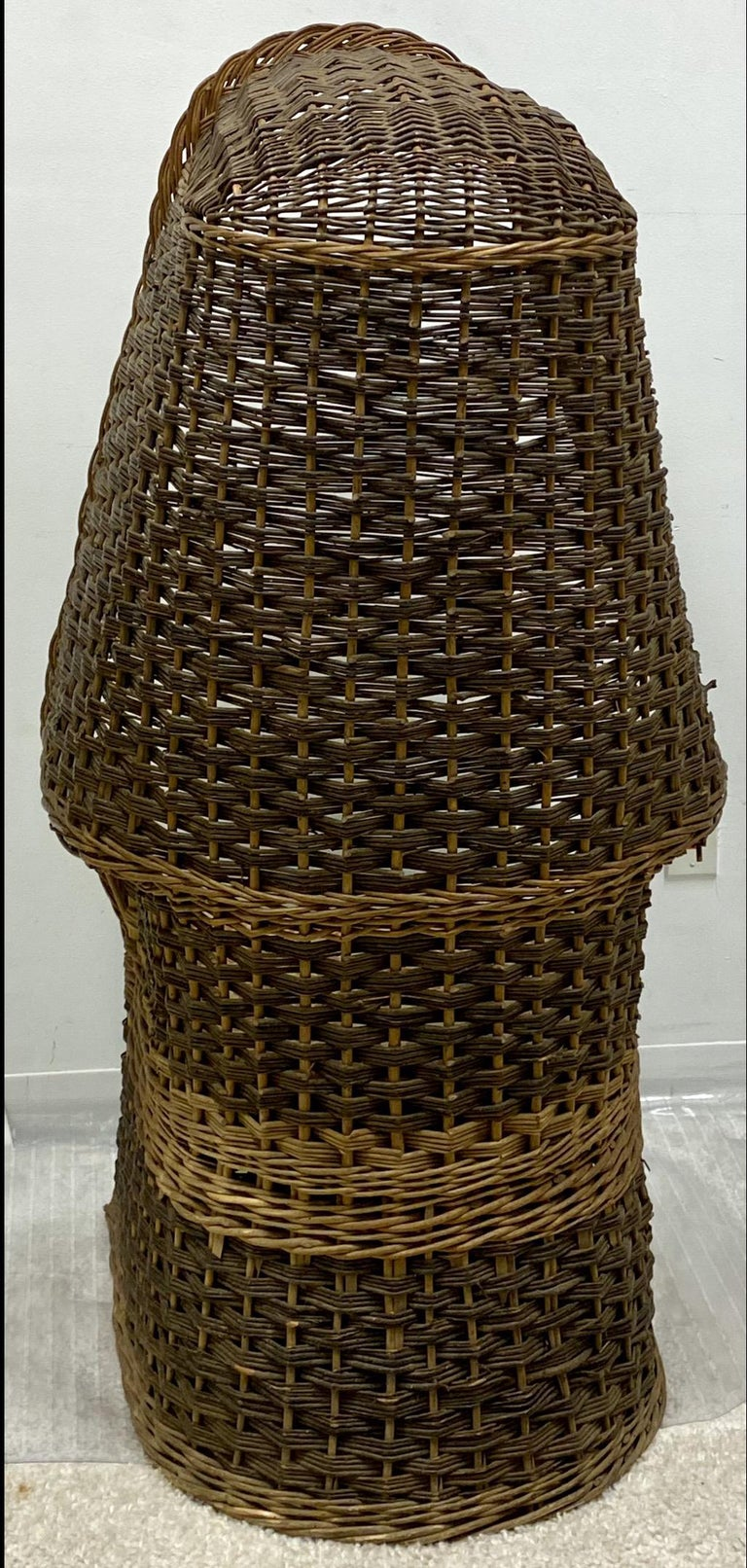 Victorian 1930s Hand Woven Wicker Porter's Chair For Sale