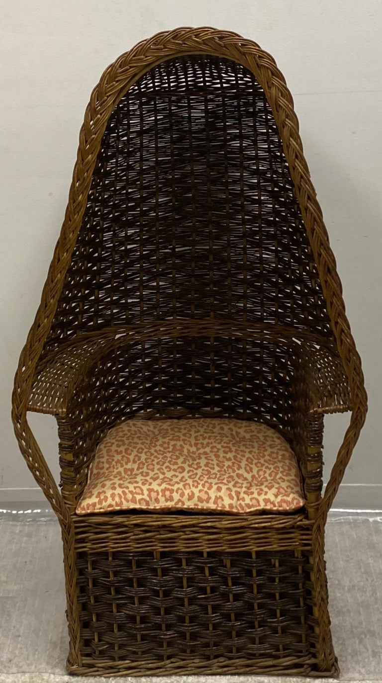 Unknown 1930s Hand Woven Wicker Porter's Chair For Sale