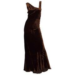 1930S HARRODS Chocolate Brown Asymmetrically Draped Bias Silk Velvet Gown