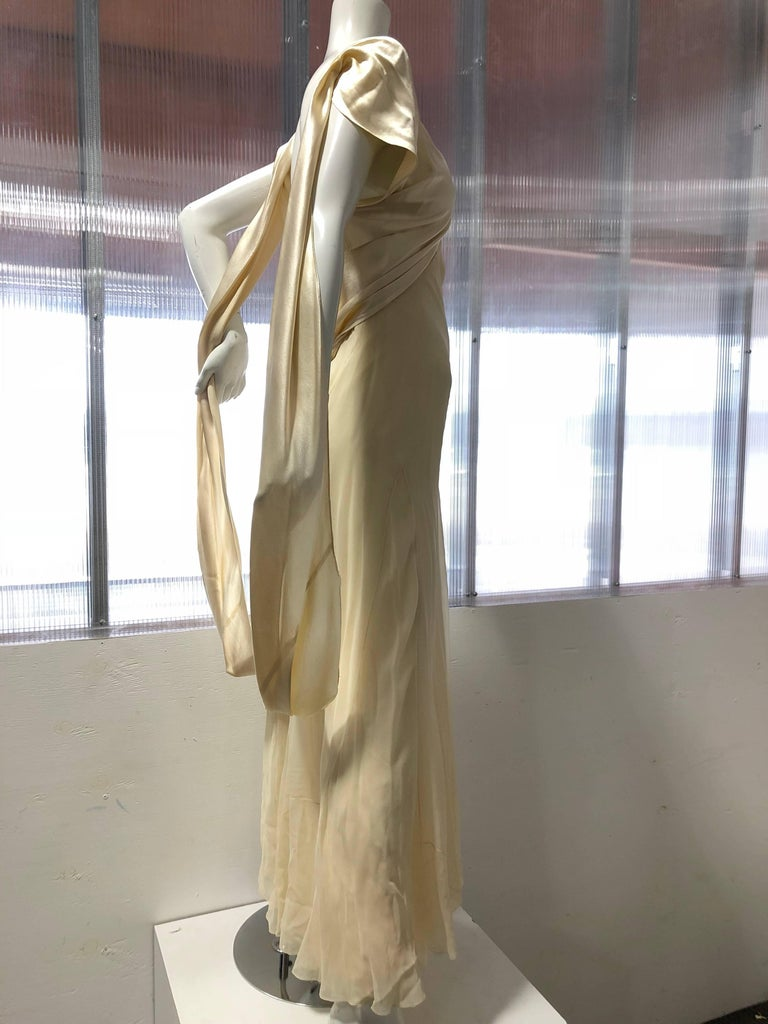 Brown Hattie Carnegie Art Deco Bias Gown in Candlelight Silk Satin and Chiffon, 1930s  For Sale