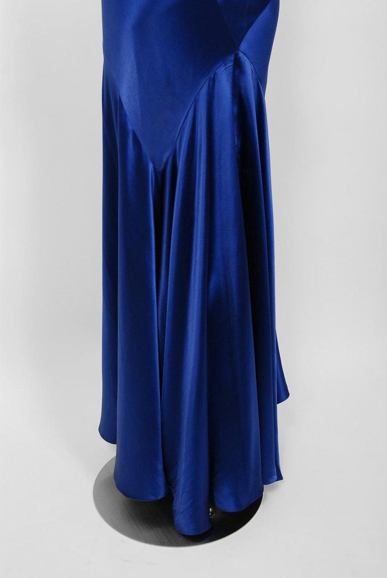 Women's 1930's Hattie Carnegie Couture Sapphire-Blue Silk Satin Backless Bias-Cut Gown For Sale