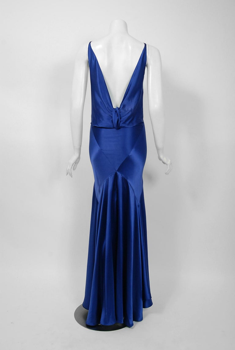 1930's Hattie Carnegie Couture Sapphire-Blue Silk Satin Backless Bias-Cut Gown For Sale 1