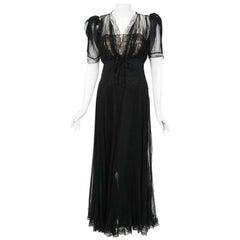 1930's Hattie Carnegie Pleated Black Chiffon & Lace Puff Sleeve Bias-Cut Dress