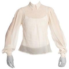 1930S Ivory Haute Couture Silk Chiffon Bias Cut Blouse With Hand Done Art-Deco