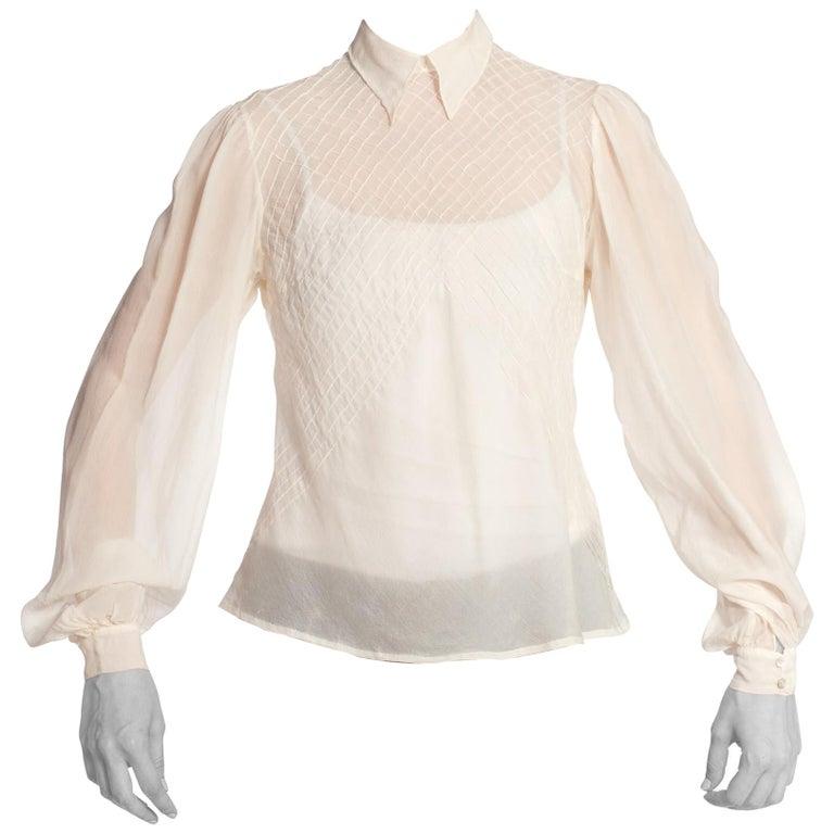 75395fe22cf53 1930S Haute Couture Bias Silk Chiffon Hand Pintuck Blouse