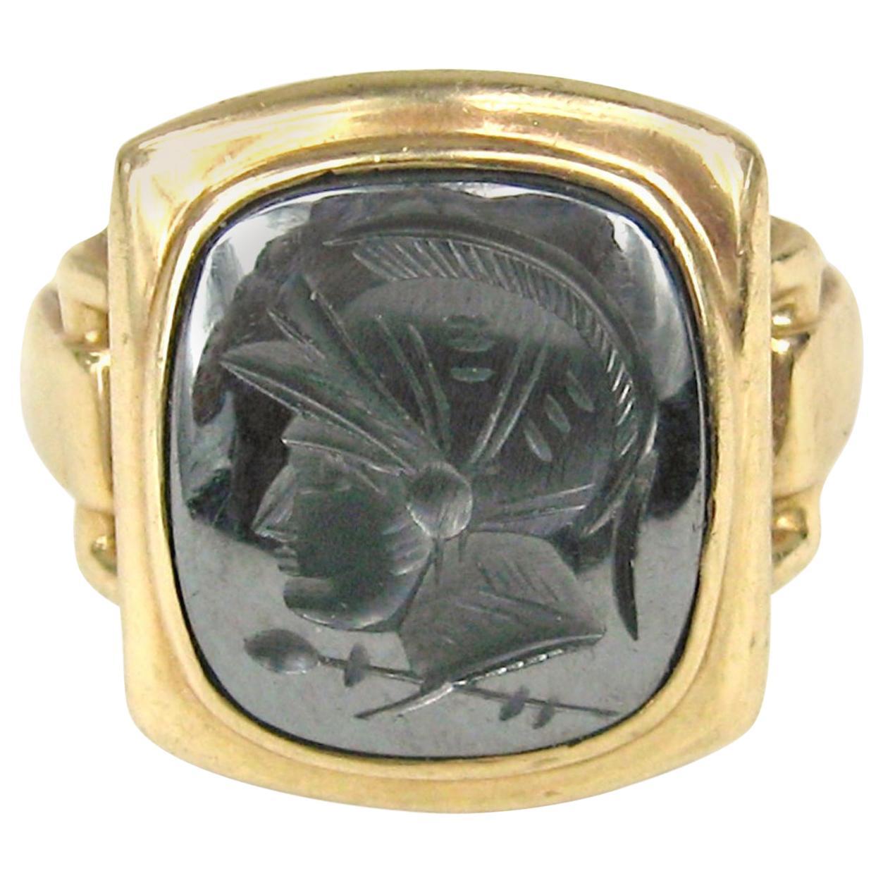 1930s Hematite Gold Intaglio Warrior Ring