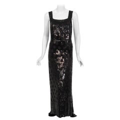 1930's Henri Bendel Couture Purple Silk & Black Sequin Deco-Dots Trained Gown