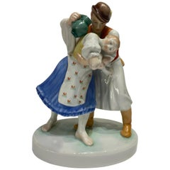 1930's Herend Porcelain Hand Painted Figurine Sculpture