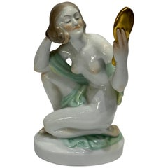 1930's Herend Porcelain Hand Painted Nude Woman Figurine Sculpture
