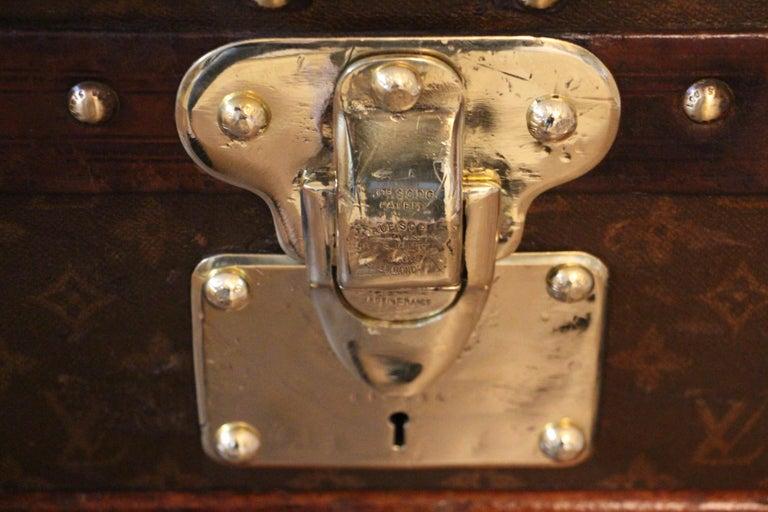 Brass 1930s High Louis Vuitton Trunk, Louis Vuitton Courrier Steamer Trunk Extra Large For Sale